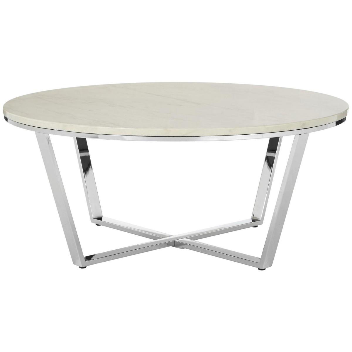 Premium Round Coffee Table White Faux Marble Chrome