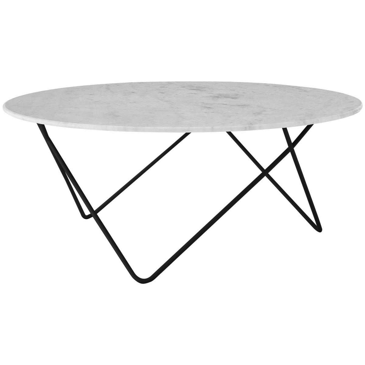 Modern Home Rolo Round Coffee Table White Marble Black Metal Legs Free Next Day Delivery