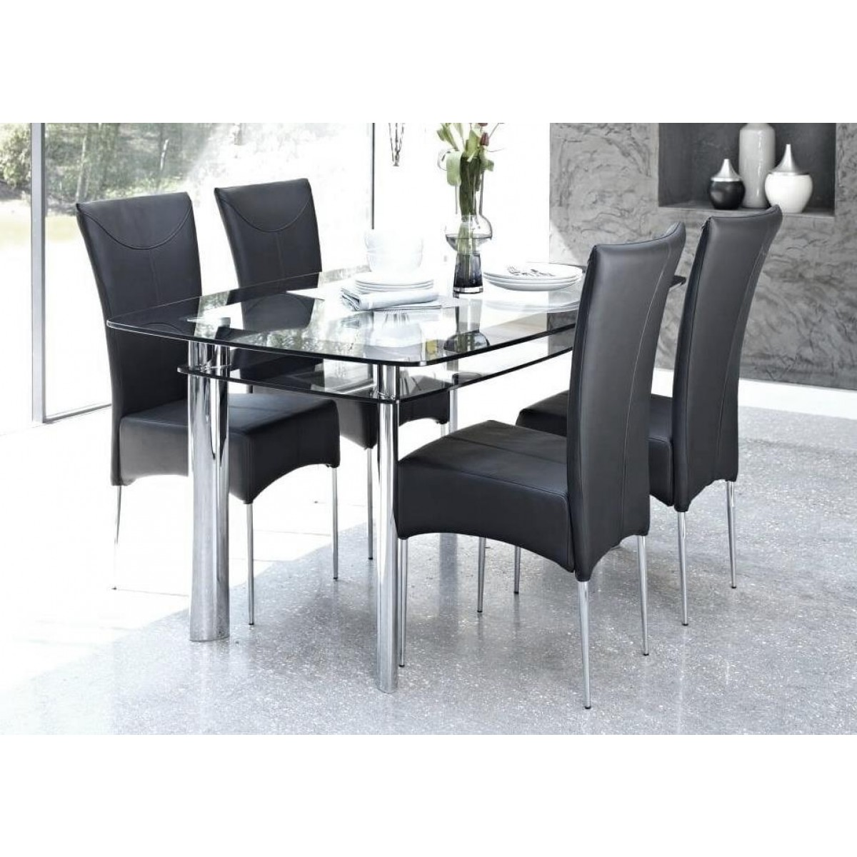 Modern Home Angels Small Glass Dining Table Clear Black Border Free Next Day Delivery
