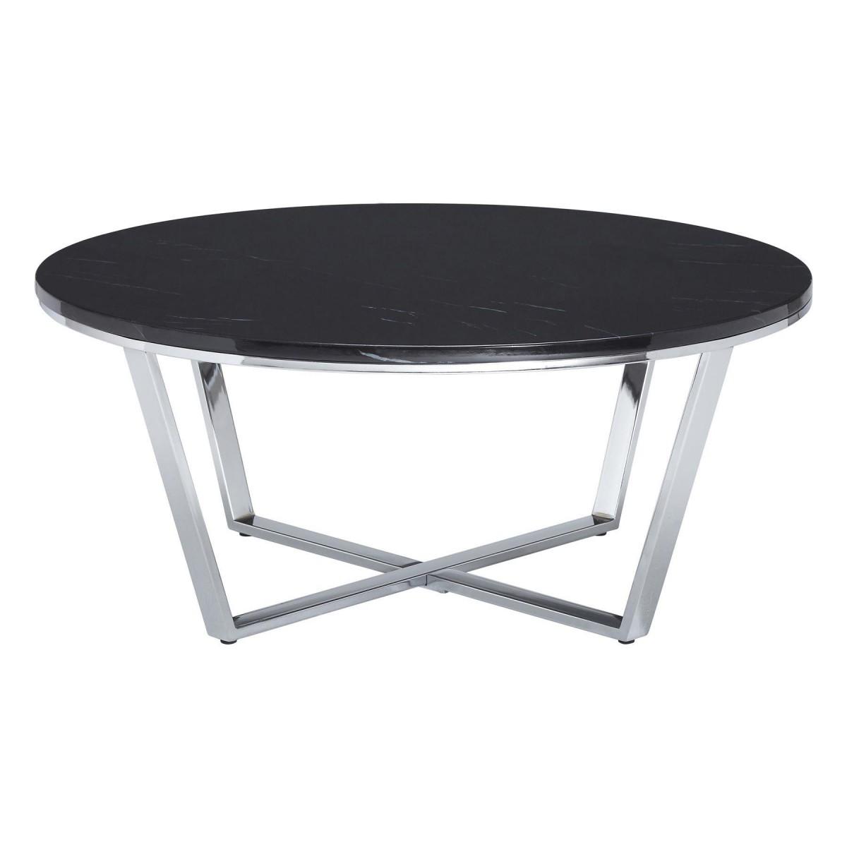 Premium Round Coffee Table Black Faux Marble Chrome