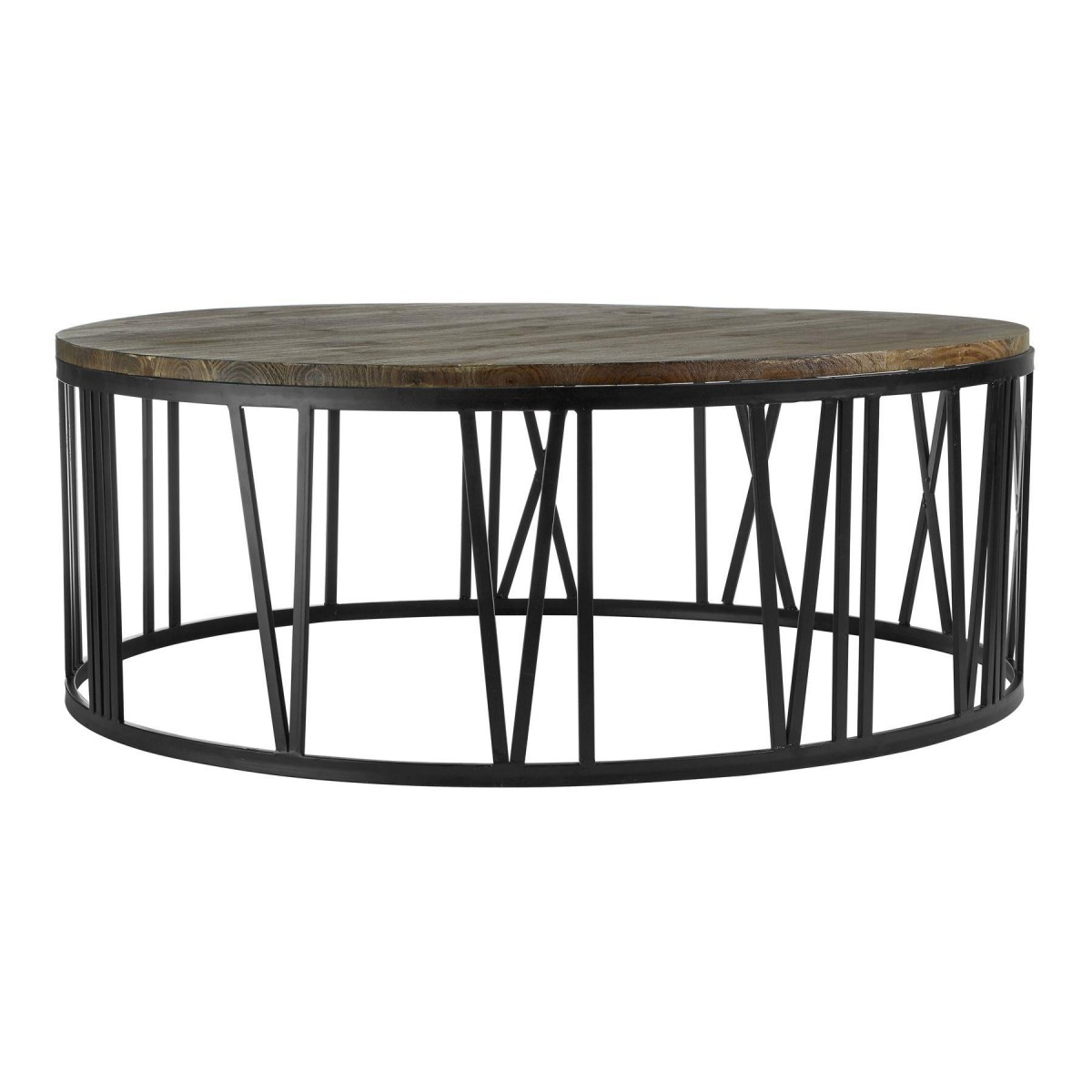 Greenwich Coffee Table Round Fir Wood Black Metal