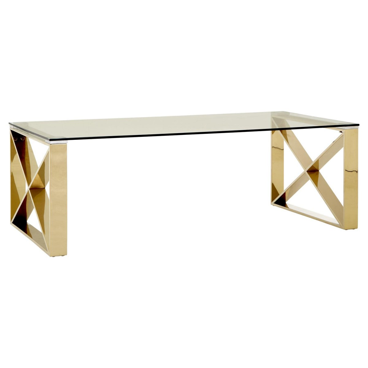 Modern Home Premium Coffee Table Clear Glass Champagne Gold Legs