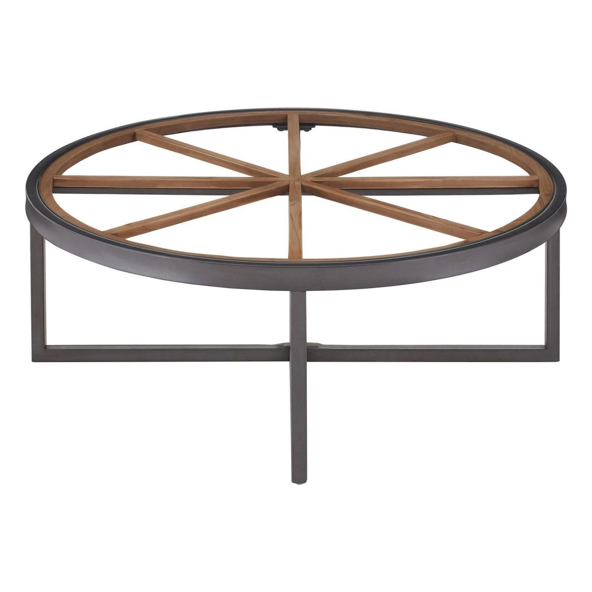 Modern Home Trinity Round Coffee Table Fir Wood Iron