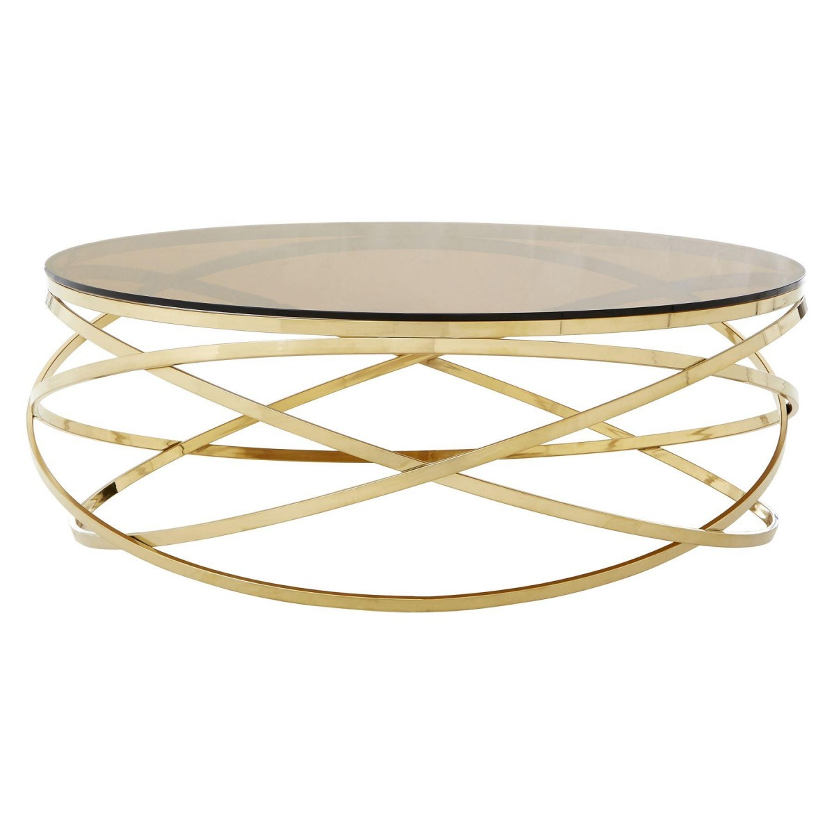 Premium Round Coffee Table Amber Smoked Glass Champagne Gold Base