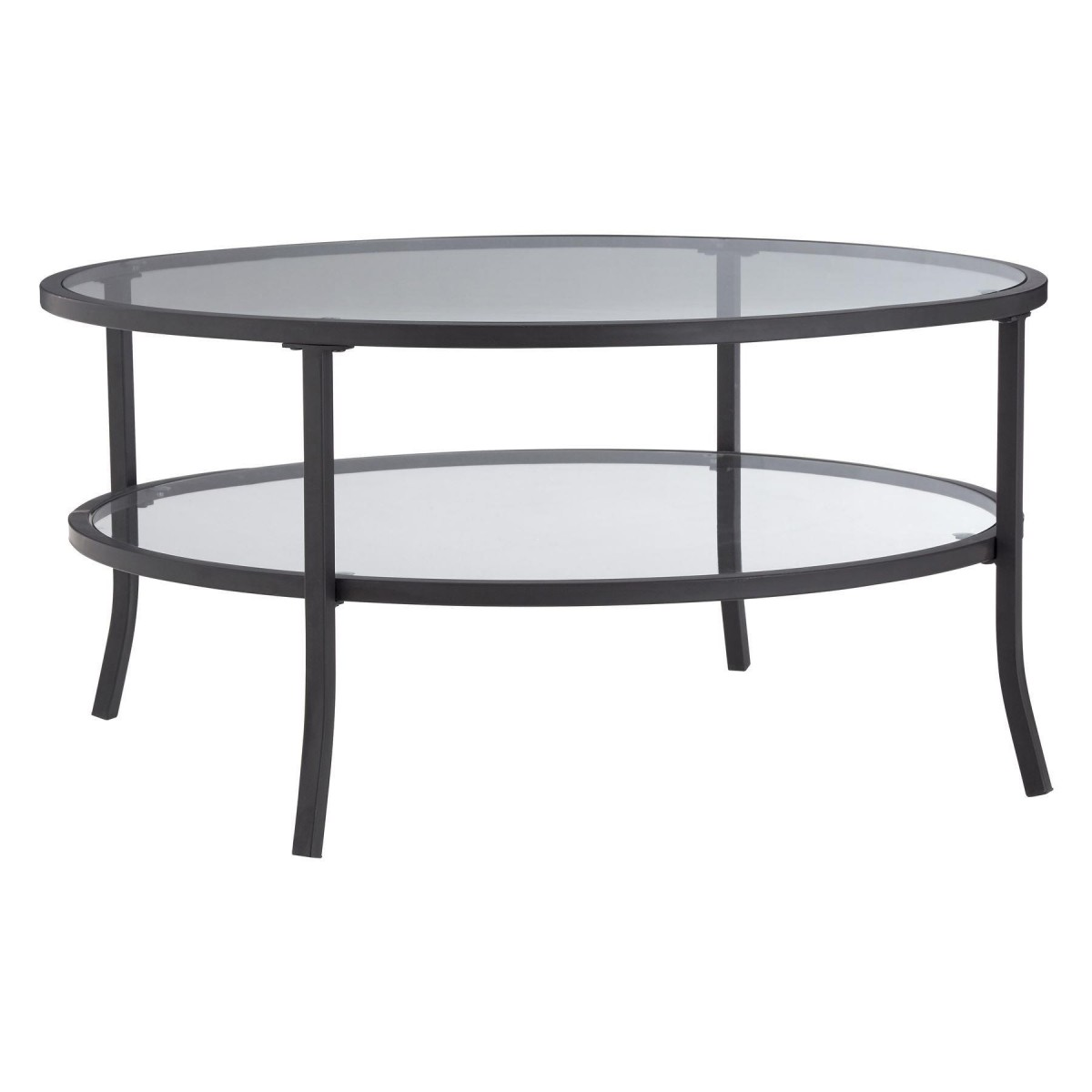 Rubix Round Coffee Table Tempered Glass Metal Frame Black Powder Coated Frame