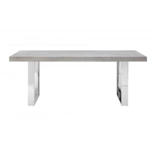 Dining Table Grey Elm Wood Stainless Steel Legs