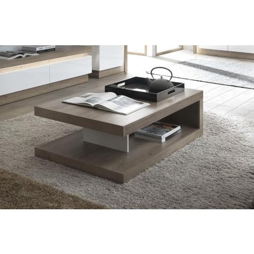 Lyon Designer coffee table in Riviera Oak/White High Gloss
