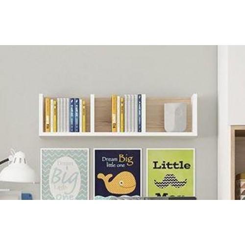 4KIDS Wall Shelf Oak High Gloss White