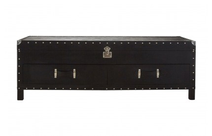 Sloane Coffee Table 2 Drawers Leather Effect/Stud Detail