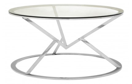 Premium Round Coffee Table Clear Glass Stainless Steel