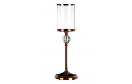 Buckingham Townhouse Pillar Candle Holder Crystal Glass / Bronze Metal Small