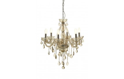 Murano 8 Bulb Chandelier Chrome/Cognac Glass Cognac Crystal