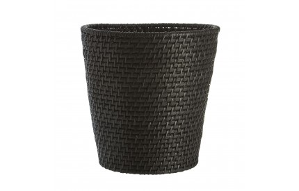 Waste Basket Black Rattan