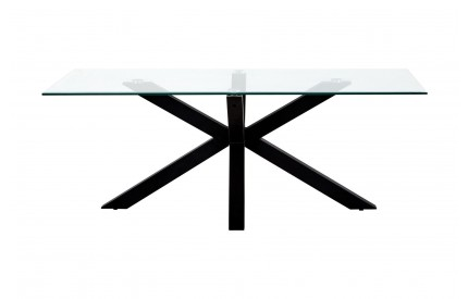 Grate Coffee Table Tempered Glass Rice Shaped Black Base