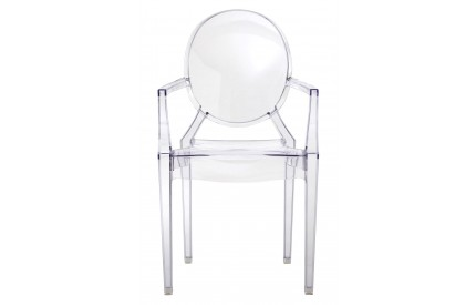 Louis Style Chair With Arms Clear Polycarbonate