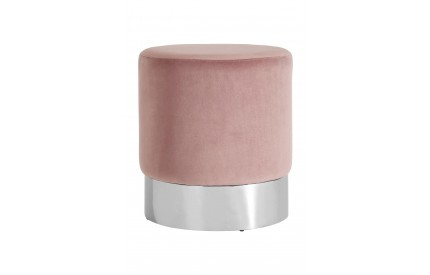 Pose Round Stool Pink Velvet Stainless Steel Base
