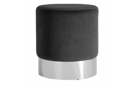 Pose Round Stool Black Velvet Stainless Steel Base