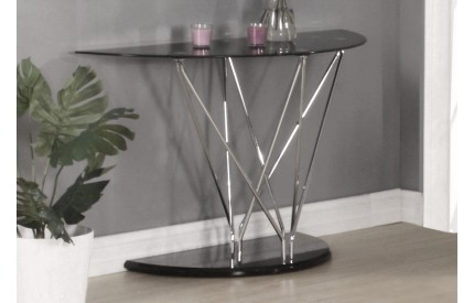 Harland Glass Console Table Chrome & Black