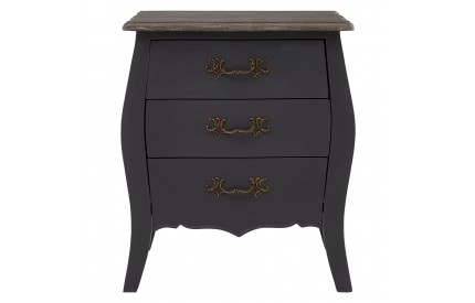 French Bedside Chest 3 Drawers Dark Grey Bayur Wood
