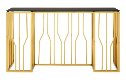 Alvaro Console Table Black Glass Gold Frame