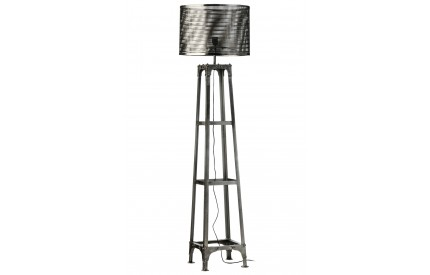 Aviator Floor Lamp Mesh Shade Antique Silver