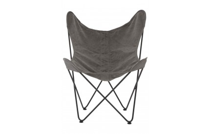 Papillon Butterfly Chair Grey Canvas Steel Frame