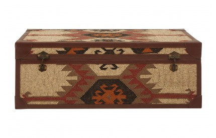 Coffee Table Trunk Multi Print Cotton / Galvanised Iron / Jute / PU