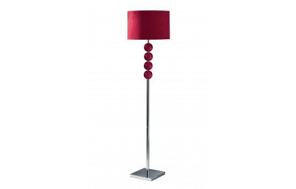 Mistro Floor Lamp Red Orb / Chrome Base Red Suede Effect Shade / UK Plug