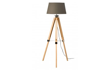 Tripod Floor Lamp Grey Shade Light Wood Base / UK Plug