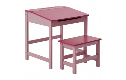 Child's Desk and Stool Pink