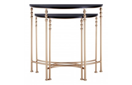 Lexa Console Tables Half Round / Set of 2 Metal with MDF Top
