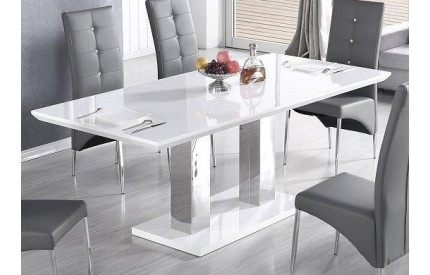 Wharton Dining Table White Stainless Steel Base
