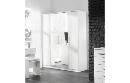 Topper High Gloss White 4 Door Wardrobe Mirrors