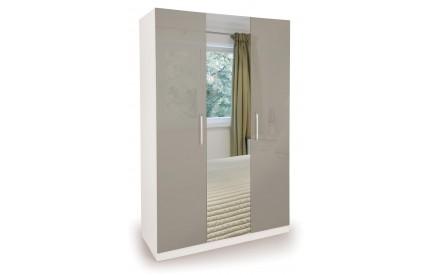 Bailey High Gloss 3 Door Mirror Wardrobe