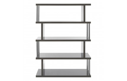 Contour 4 Tier Shelf Unit MDF / Stainless Steel Grey Gloss