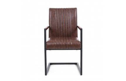 Archer Cantilever Leather Match Brown Carver Chair