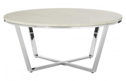 Premium Round Coffee Table White Faux Marble Chrome