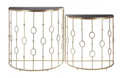 Scenic Console Tables Black Glass / Gold Metal Set of 2
