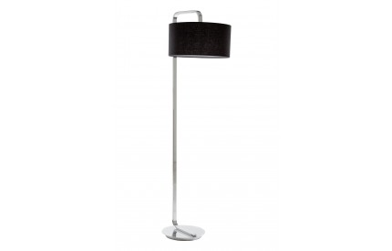 Leyna Floor Lamp Chrome Black Fabric Shade / EU Plug