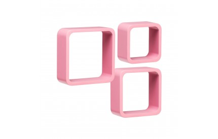 Wall Cubes Set of 3 Pink