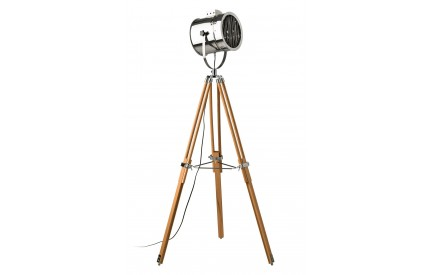 Firly Floor Lamp Natural Wood Tripod Base Stainless Steel Shade / EU Plug