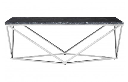 Premium Rectangular Coffee Table Black Faux Marble Chrome