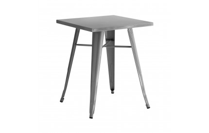 Cuboid Table Metal Silver Powder Coated