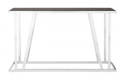 Ackley Console Table Black Glass Top Stainless Steel Frame