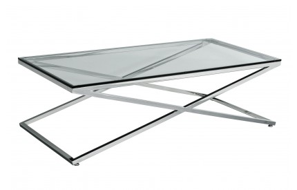 Criss Cross Coffee Table Clear Tempered Glass Stainless Steel Frame