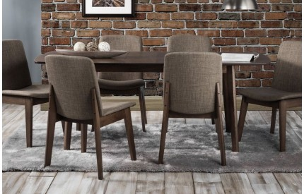 Modern Walnut Extending Dining Table and Chairs Set