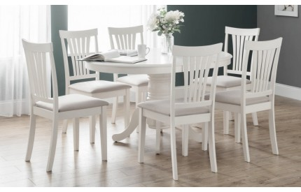 Classic Round White Oval Extending Dining Table Set
