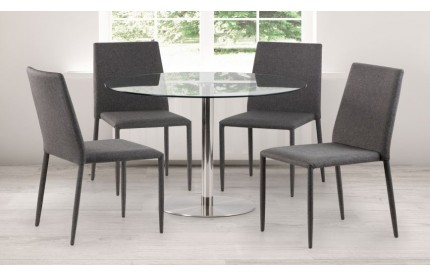 Clear Glass Dining Set Fabric Chairs