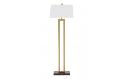 Leora Floor Lamp / EU Plug Metal / Fabric Shade