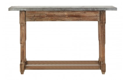 Elementary Console Table Metal Top Antique Finish Wood